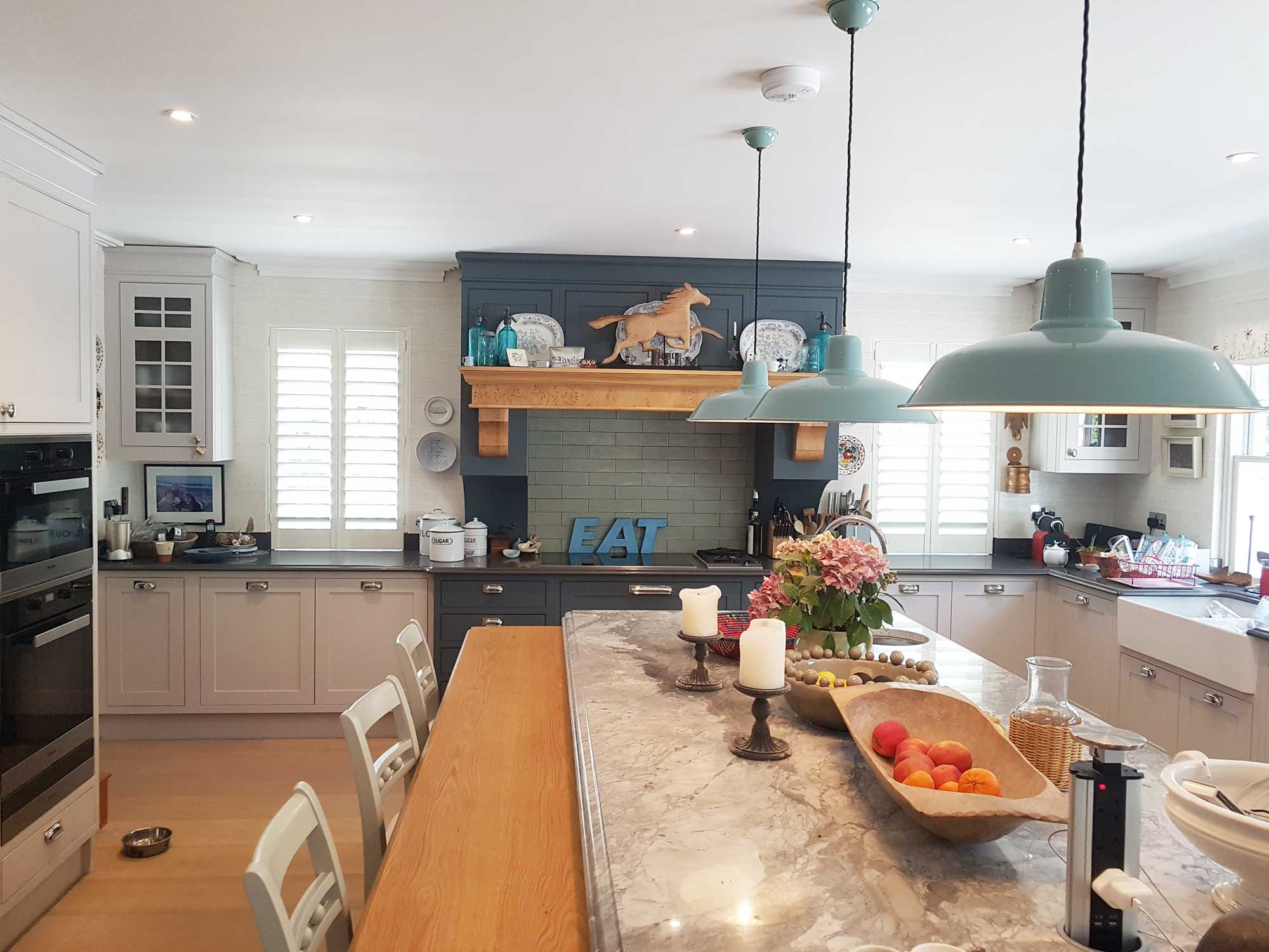 Custom made shutters fitted in a kitchen in a magnificent for Magnificent kitchens